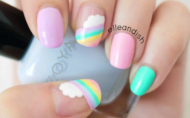 This is a cute and easy pastel cloud rainbow freehand design, all you have to do is make some dots and lines! ❤