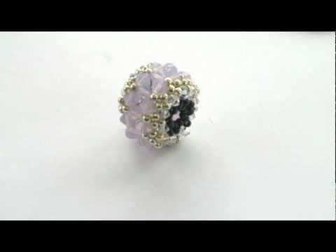 Beading4perfectionists: Beaded bead with Swarovski and miyuki beading turorial - YouTube