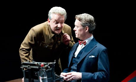 Double act … Simon Russell Beale (Joseph Stalin) and Alex Jennings (Mikhail Bulgakov) in John Hodge's Collaborators at the National Theatre