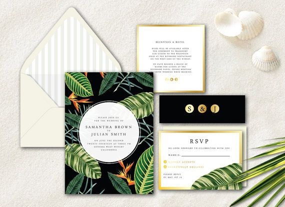 Beautiful Tropical Wedding Invitation, Gold Wedding Invitation, Floral Wedding  Invitation, Modern Wedding Invite By Daydream Prints