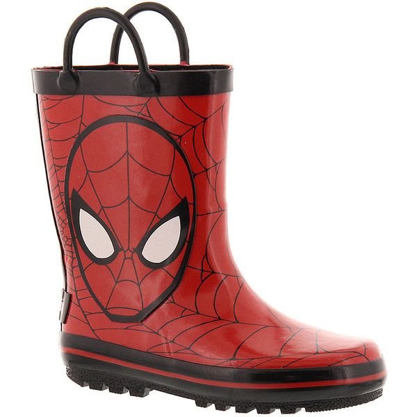 Marvel Spiderman Rainboot (Boys' Toddler) ($30) ❤ liked on Polyvore featuring shoes, boots, red, red shoes, red wellington boots, long shoes, marvel shoes and rubber shoes