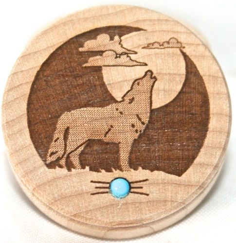 Southwestern Home Decor Wood Box Trinket Box Turquoise Gem Wolf Art Wolves
