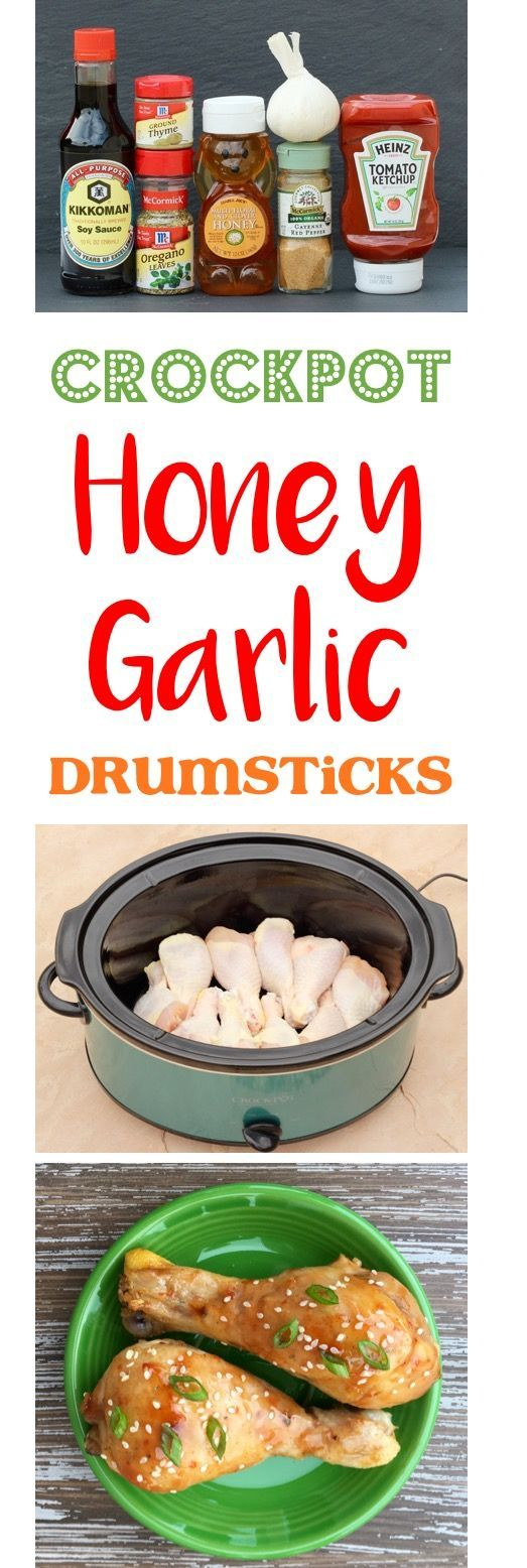 Crockpot Honey Garlic Chicken Drumsticks Recipe!  This crave-worthy Crock Pot chicken dish is here to infuse some delicious new flavors into your weeknight dinners.  Kid and hubby approved! | TheFrugalGirls.com