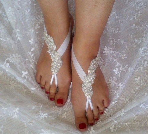 Pearl free shipping pearl anklet, Beach wedding barefoot sandals