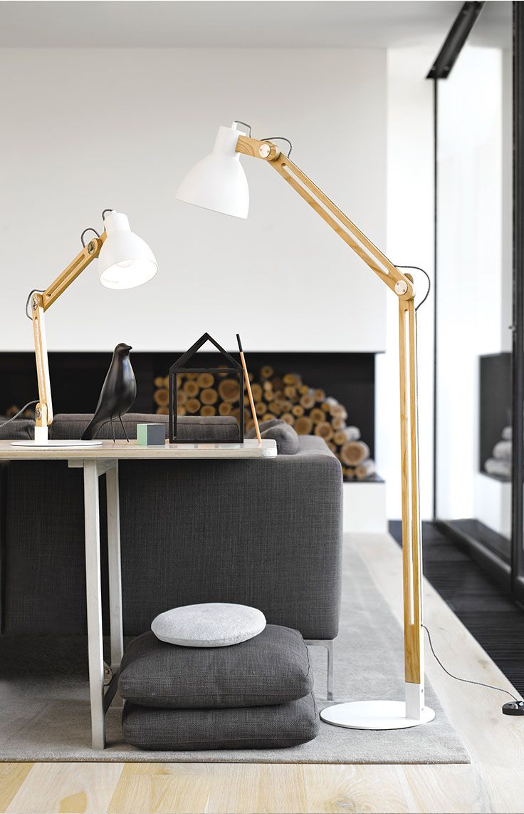 The Beacon Lighting Meyer modern 1 light adjustable wooden floor lamp in Ash with white metal shade.