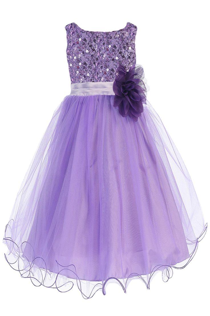 Lavender Sequins, Satin & Layered Mesh Formal Dress with 2 Ruffle Hems (Toddler & Girls Sizes)
