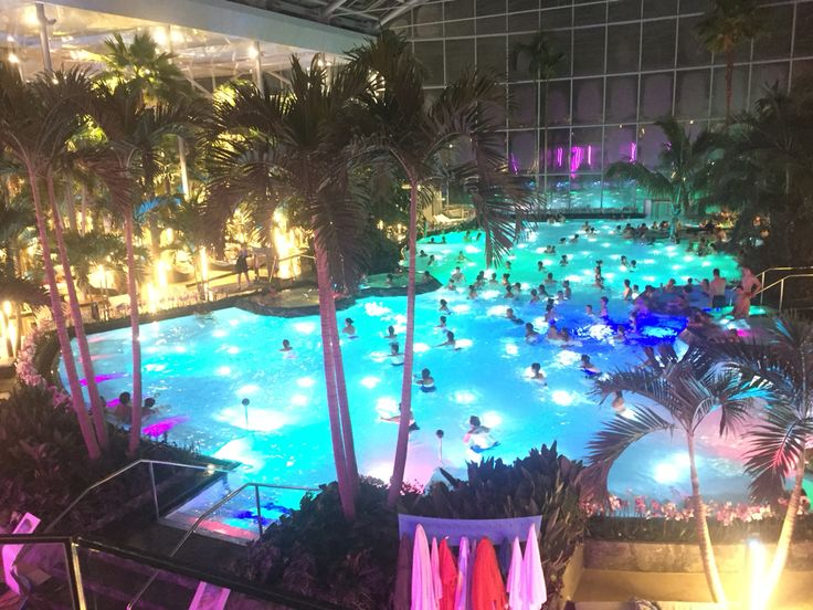 Evening is the best time to go to the Therme Bucharest.