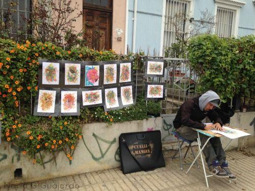 Artista en Paseo Atkinson Valparaiso Chile