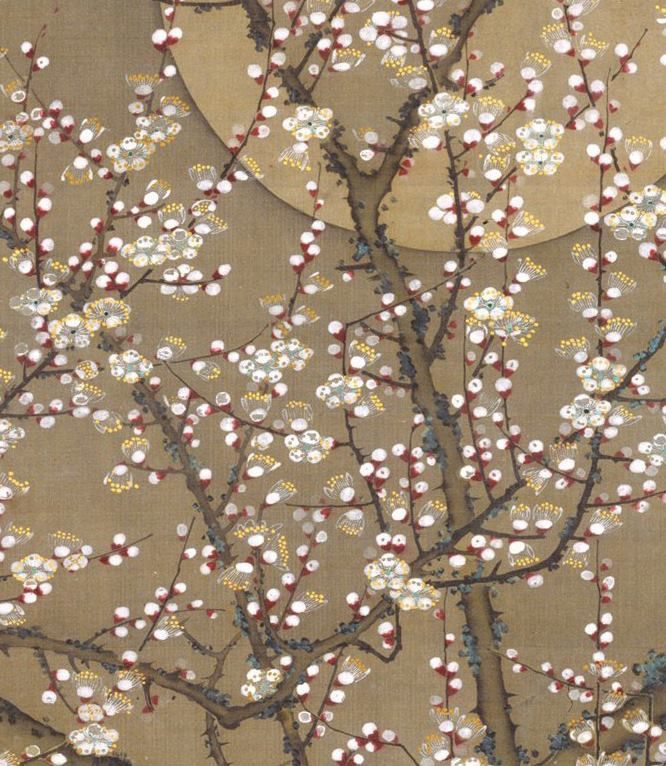 White Plum Blossoms and Moon by Itō Jakuchū (Japanese, 1716–1800).  1755, Japan. Hanging scroll; ink and colour on silk.- Detail