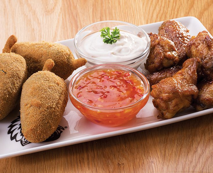 Buffalo Wings and Chili Poppers: A delicious combination of your favourites - served with either our tangy tartare, Durky or sweet chilli sauces.https://www.spur.co.za/menu/starters/