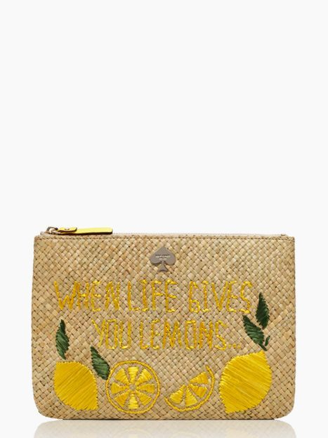 kate spade capri collection 'vita riva' large bella pouch wristlet in straw embroidered with lemons and 'when life gives you lemons, make limoncello'