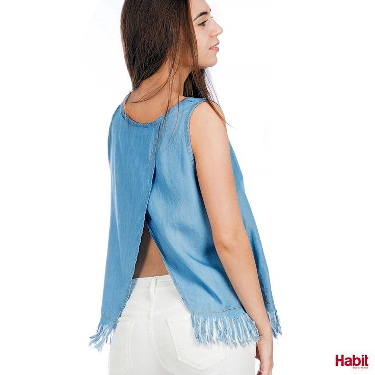 Τοπ τζίν με άνοιγμα στην πλάτη. • Κωδικός: 703108 • Τιμή: 17,99 • Χρώμα: Γαλάζιο • Μέγεθος: One Size  (online shopping loading... 📻 stay tuned) #habit #fashion #habitfashion #loveforfashion #everyday #somethingnew #tops #denim #laceup #tencel #newcollection #trends #bodysuit #pants #jeans