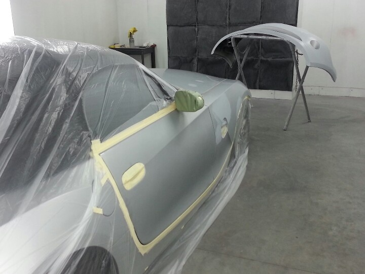 In the paint booth at icarhouston paint snd body.   Paint ...
