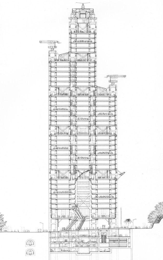 HSBC Section - Norman Foster. Arquitectura. Dibujos. Secciones. Rascacielos. Norman Foster