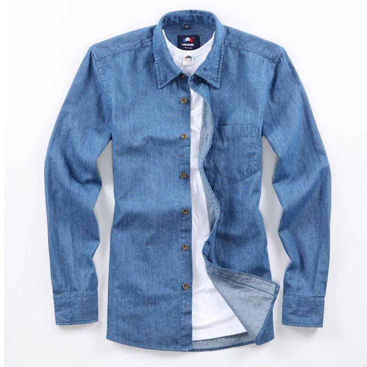 Весна осень мужской лонга sleeve100 % свободного покроя рубашки мужчин сплошной цвет тонкий мужчины джинсовые рубашки 2015 camisa masculina