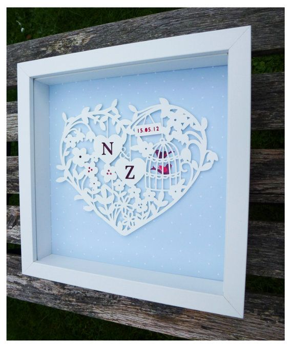 Personalised Paper Cut Heart Wedding or by KatieElliottDesigns