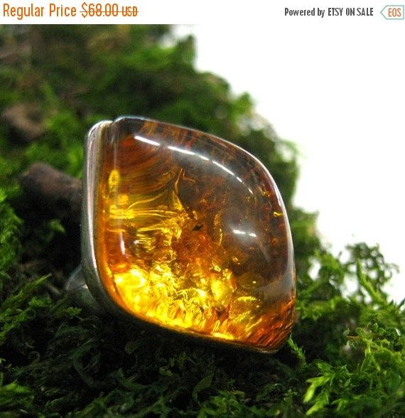 Your BEST GIFT Baltic Amber Statement ring Leaf Shape honey amber vintage rings Russian jewelry early 90s hand crafted size 7 womans ring co