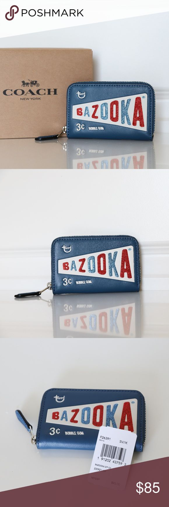 "Coach F26391  BAZOOKA Gum Zip Coin Case Wallet NWT Coach F26391 Limited Edition BAZOOKA Zip Coin Case Wallet   Style: F26395 Color:Ink/Silver  Details: Smooth Leather Credit card pockets Zip closure, fabric lining Zip coin pocket Measures approximately 4.5""L x 3""H x .75""D  IN SMOKE AND PET FREE HOME!! ALL ITEMS ARE GUARANTEED 100% AUTHENTIC and BRAND NEW ! Coach Bags Wallets"