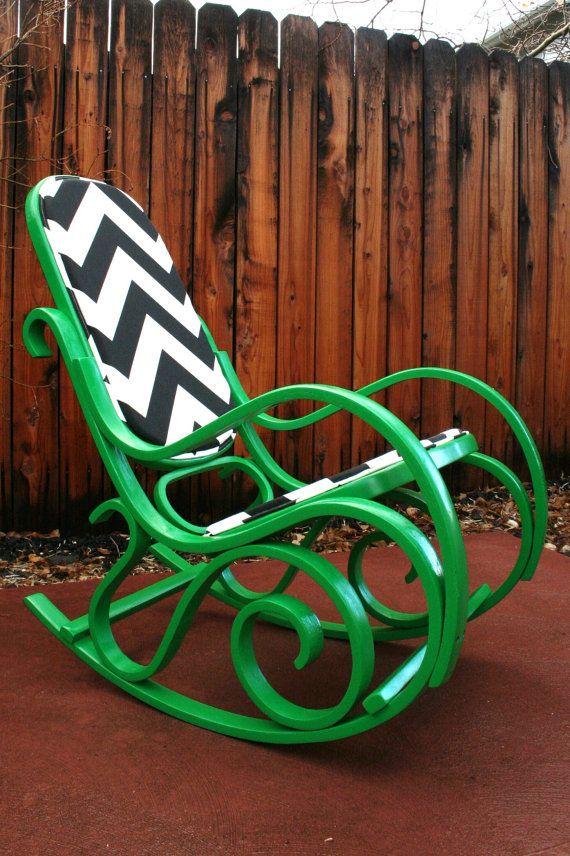 **I bought a rocker like this to upcycle.  I am planning to do a glossy black on the wood and gray/white chevron upholstery.  If you are interested in it, let me know, especially if you'd like different colors !** (laura)  Thonet/ Bentwood Style Revamped Kelly Green Rocking Chair with Chevron Fabric via Etsy