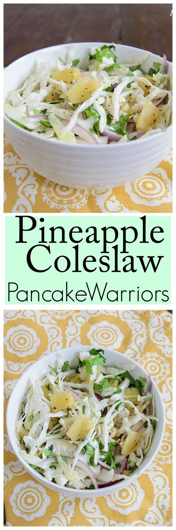 Pineapple Coleslaw Recipe - this low fat, vegan, paleo coleslaw is a perfect dish for summer get together or an easy weeknight dinner side dish!  Perfect for cookouts, no refrigeration needed!!