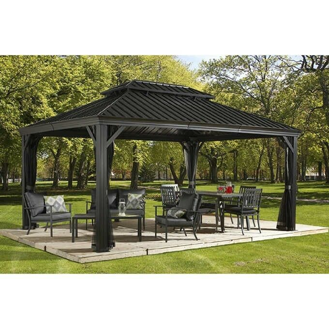 12 X 16 Hardtop Gazebo Metal Aluminum Roof Netting Kit Outdoor Garden For Patio Set Ebay Sale Patio Gazebo Hardtop Gazebo Pergola Patio