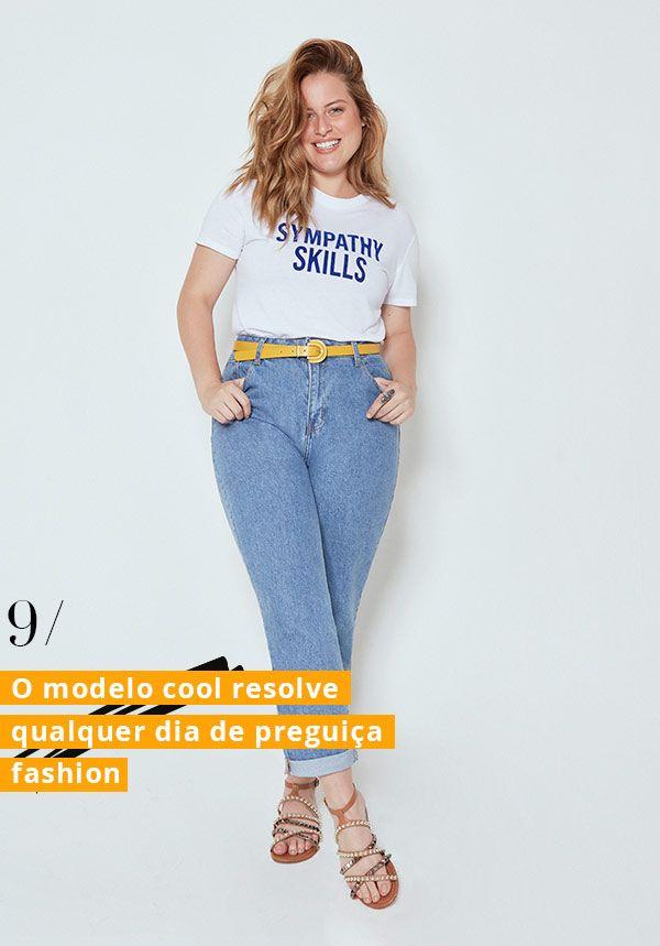 3987d5a05 Aposte em um cinto vibrante para transformar a dupla neutra. andressa  almeida - mom - jeans - cea - campanha