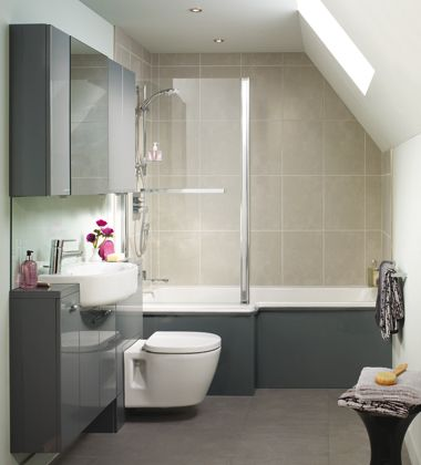 Ideal Standard's slim bathrooms designed to fit in small spaces. Increasingly, living spaces in England are getting smaller, so ideas like this are more and more helpful.