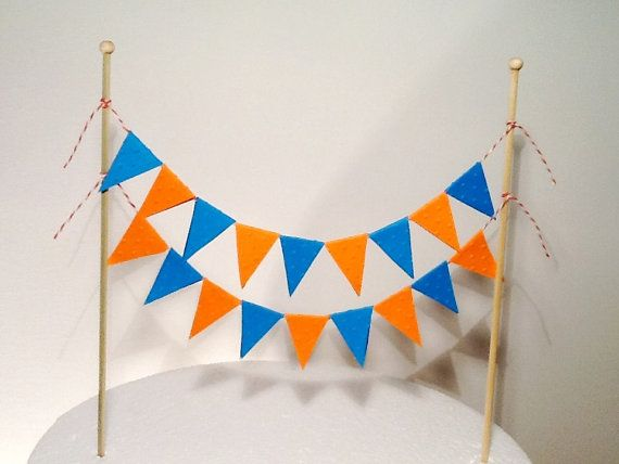 Cake Bunting/Cake Topper Double String of Flags, Suit Giggle and Hoot Theme. Orange and Blue. on Etsy, $15.00 AUD
