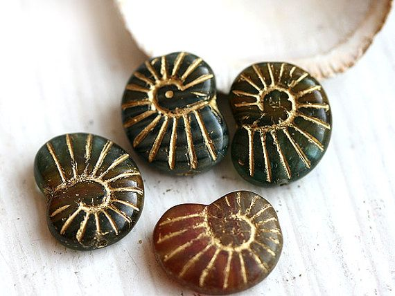 Nautilus Czech Beads, Glass Seashell, Mixed Color   Brown Green With Golden  Inlays, Ammonite Fossil, Large   14x17mm   4Pc   0383