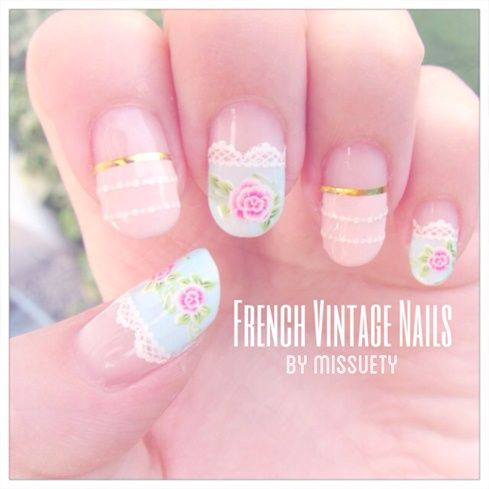 French Vintage Nails by Missuety - Nail Art Gallery nailartgallery.nailsmag.com by Nails Magazine www.nailsmag.com #nailart