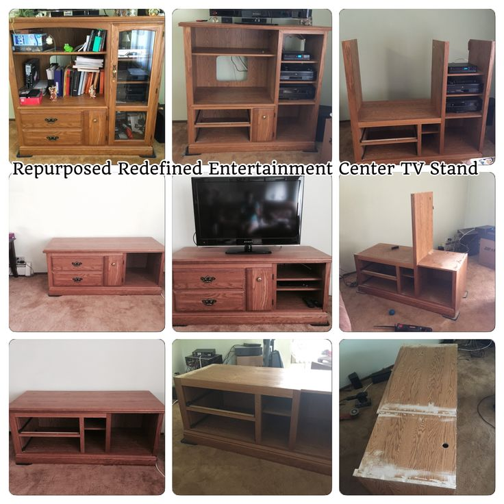 We repurposed an old oak entertainment center in a more modern TV stand. Could be used as a Bench too.