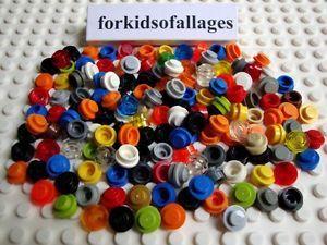 150-Piece-Bulk-Lego-Lot-1x1-Dot-Round-Plates-Caps-Lights-Lime-Black-Trans-Red