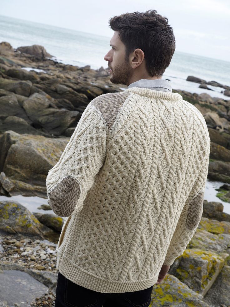 Men's Crew Neck Sweater with Tweed Patches by Natallia Kulikouskaya for Aran Crafts of Ireland
