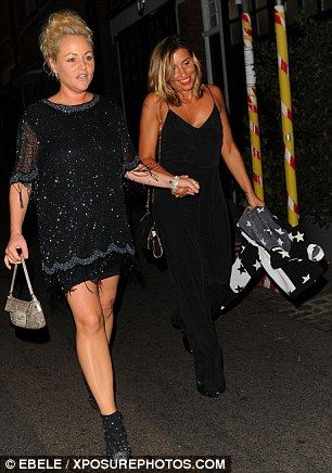 Heading home: Melanie Blatt, 41, complemented her friend's all-black approach…