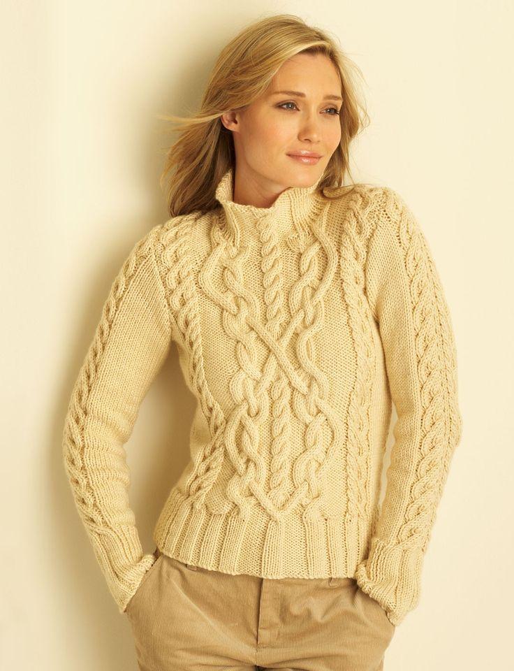 FREE PATTERN Yarnspirations.com - Bernat Cable Sweater - Patterns    Yarnspirations