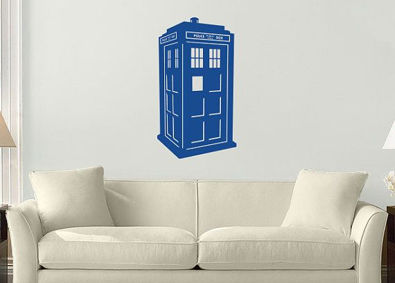 Large TARDIS Wall Vinyl Decal From The Hit BBC Series Doctor Who 20 X 36  Easily Removable Wall Vinyl Decal Designed Not To Damage Your Paint.