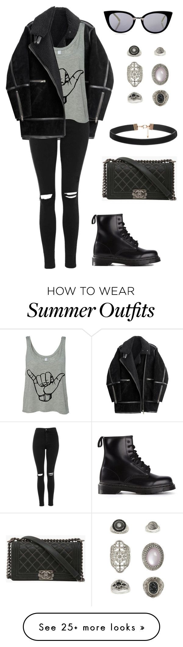 """#319"" by uccelli on Polyvore featuring H&M, Topshop, Dr. Martens, Chanel, Fendi, women's clothing, women, female, woman and misses"