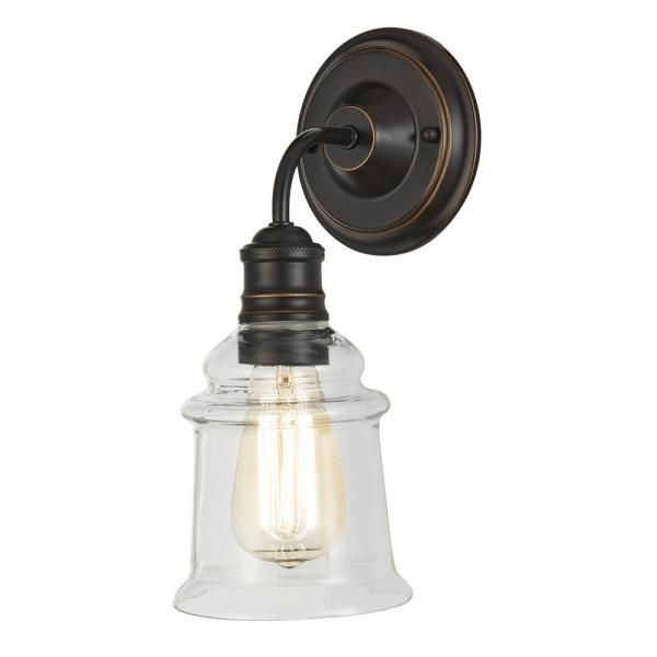 Home Decorators Collection 1 Light Antique Bronze Wall Sconce With