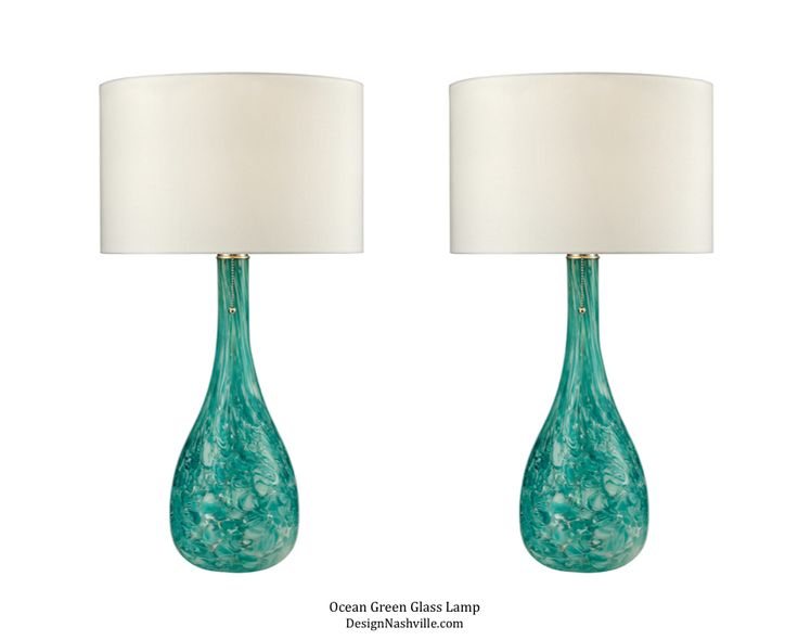 Ocean Green Blown Glass Lamps, set of 2. Caribbean, Tropical Collection DesignNashville.com aqua lamps, blue-green glass lamps.