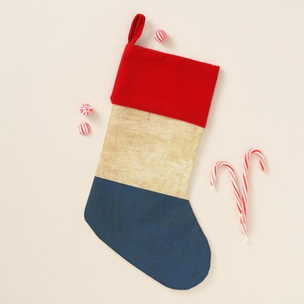Old Vintage Grunge red white blue tricolour flag Christmas Stocking #stocking #christmas #sock #xmas