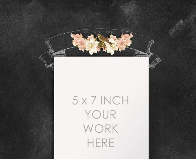 Buy any 2 get 3 MOCK UP - chalk board 5 X 7 inch | Mock Up for card design | wedding invitation card