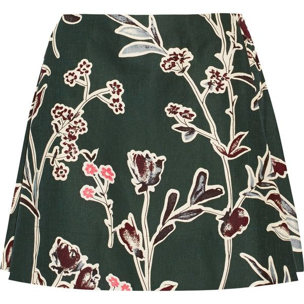 Marni's chic and feminine emerald mini skirt is pleated for the perfect A-line shape. Blended from cotton and silk, this style is ideal for brunch or weekend g…