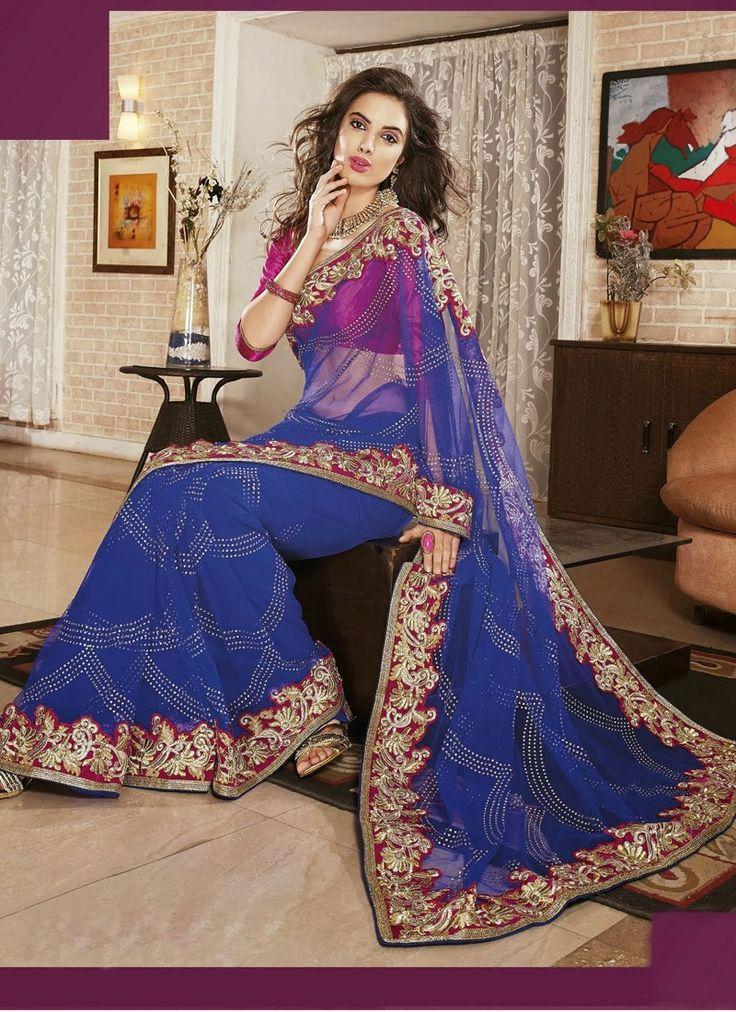 Impeccable royal blue saree