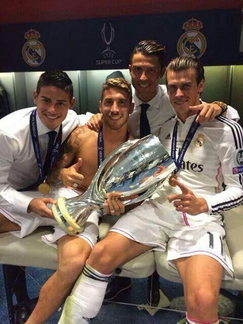 James Rodriguez, Sergio Ramos, Cristiano Ronaldo and Gareth Bale celebrating Super Cup win in locker room