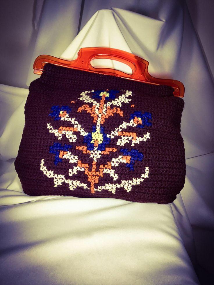 Handcrafted in the 1970s!  Lucite Handled Crochet Handbag