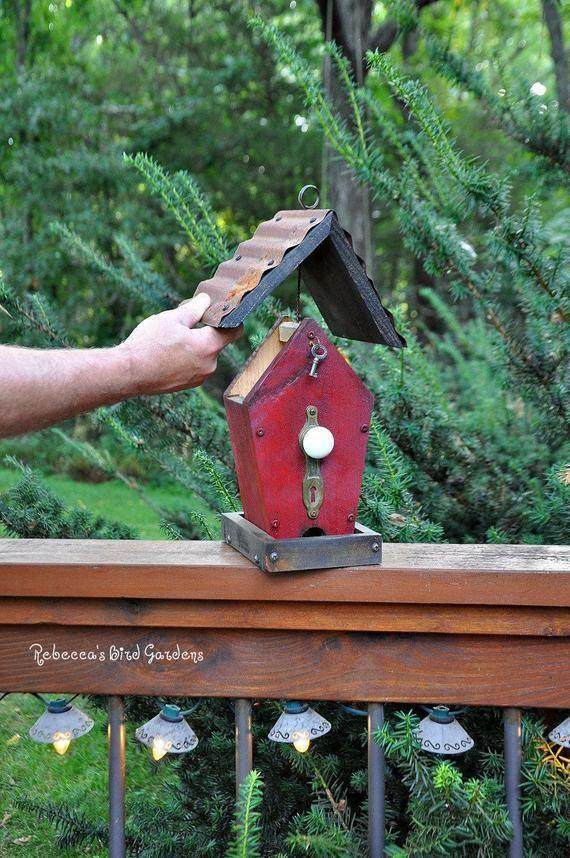Orange Rustic Bird Feeder The Cafe Wooden Bird Feeder Etsy