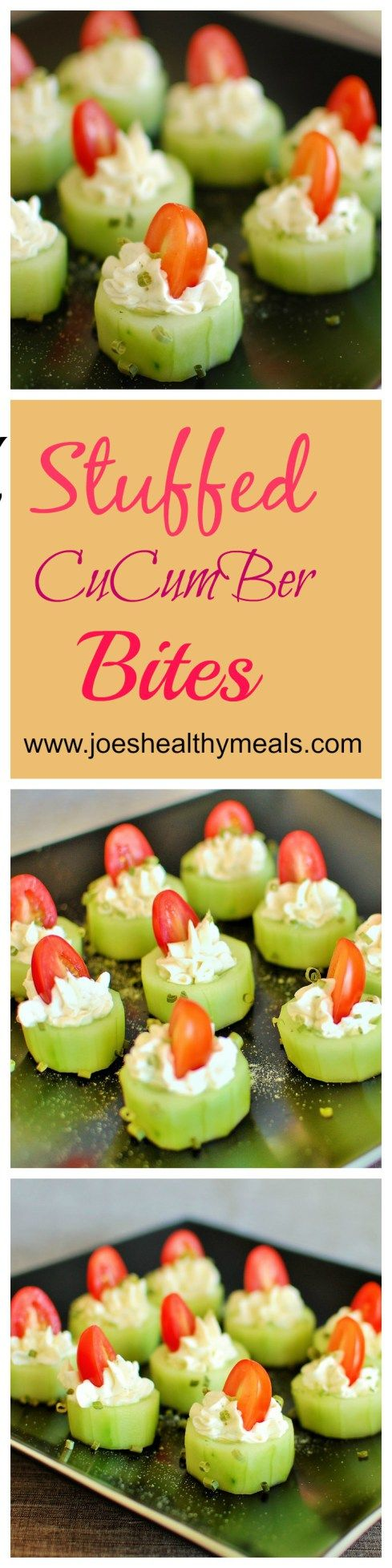 Stuffed cucumber bites | joeshealthymeals.com. Super easy. but impressive appetizer recipe. Everyone loves this! | joeshealthymeals.com