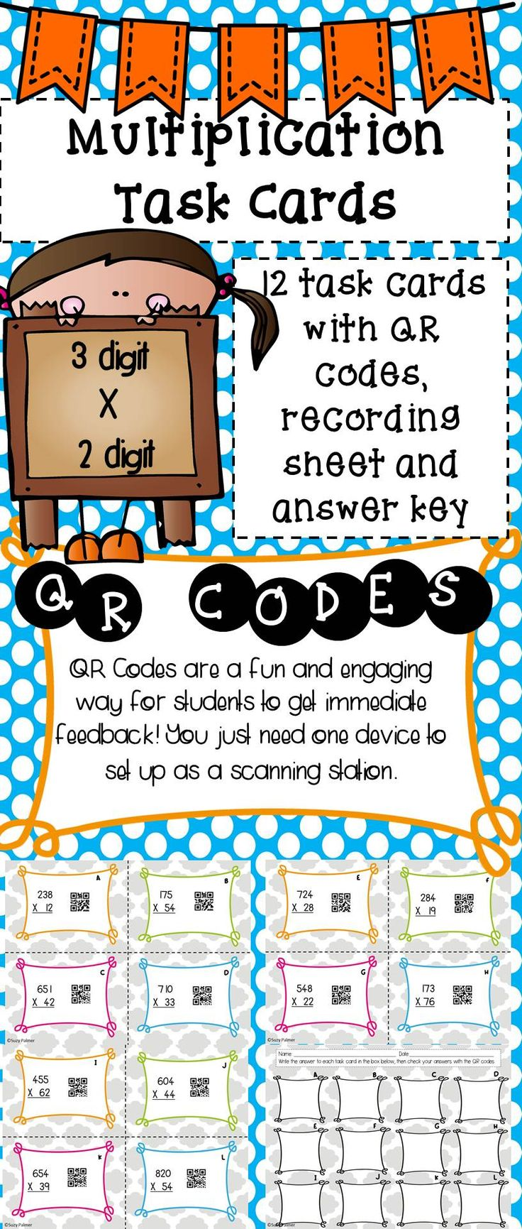 Students can practice 3 digit x 2 digit multiplication with these task cards. Set them up as a math station or for review all year long. Kids will love scanning the QR codes to get the answers and you'll love the immediate feedback they get.