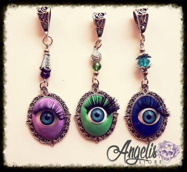 Handmade Polymer Clay Eyeball Cameo Pendant
