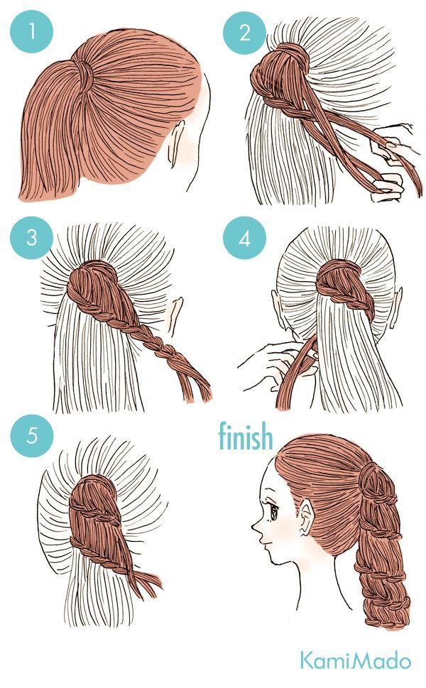 penteado com acabamento em trança - http://passaneura.com/cabelos/50-penteados-para-fazer-sozinha/